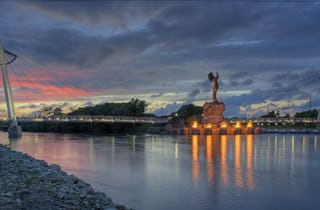 Keeper of the Plains Bridge in Wichita, Kansas.