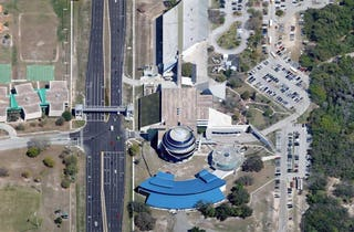 Aerial imagery of Tampa Museum of Science and Industry.