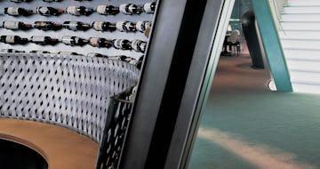 Interior woven zinc surfaces at the Felix Hong Kong