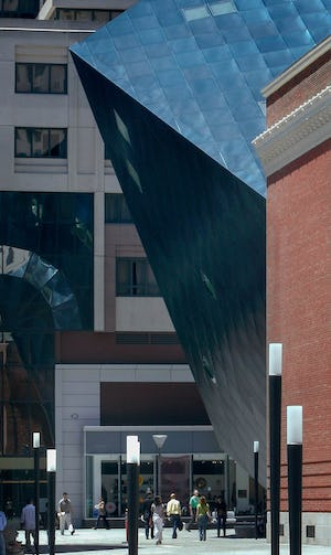 Cantilevered section of the Contemporary Jewish Museum in San Francisco.