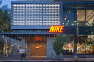 The Nike store in Scottsdale, Arizona. (Note the water misters used to cool visitors).