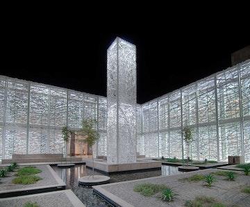 Doha education city artwall lit sculpture garden jan hendrix