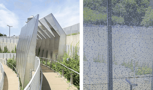 Radial perforation pattern for the Hoi Polloi public artwork in University City, Missouri.