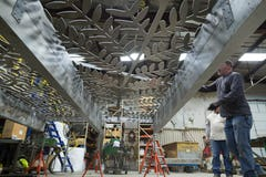 Zahner fabricators pre-assemble the Hendrix-designed canopy in Kansas City.