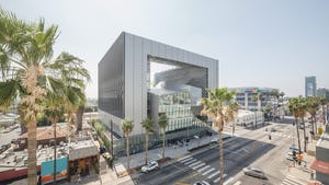 Exterior of Emerson College across Sunset Boulevard.