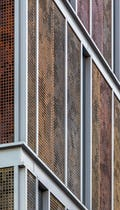 Detail of the perforated metal facade for Children's Hospital.