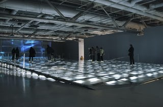 Raised glass flooring with slow-pitch at the Centre Pompidou in Paris.