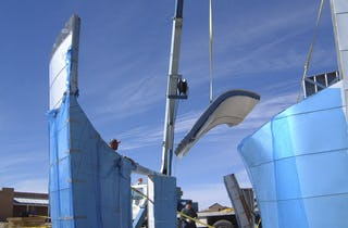 A single ZEPPS Assembly for the Turbulence House is raised for installation.
