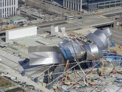 Aerial during installation of pritzker